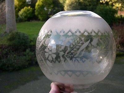 Spare Etched Glass Globe Shade For English Duplex Kerosene Oil Lamp 4 Inch Fit