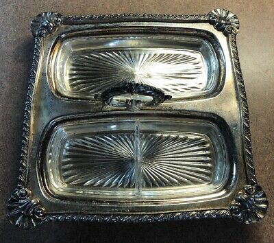 Antique Silver on Copper Butter Dish With Glass Insert