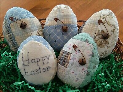 Five Handcrafted Primitive Quilted Easter Eggs