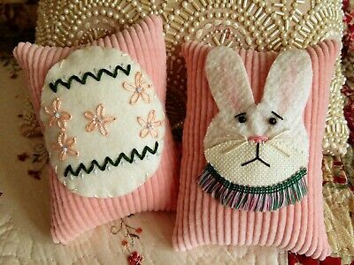 Two Handcrafted Easter Bunny and Egg Pillow Tuck's Ornie's