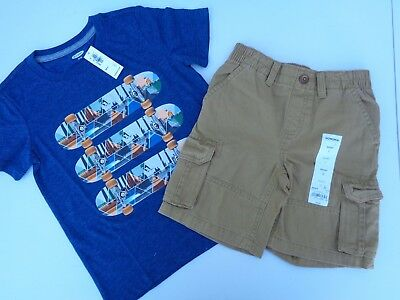 NEW lot of 2 Boys Toddler Clothes Old Navy T-shirt Sonoma Shorts SZ 5T 5 Brown