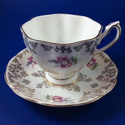 Queen Anne Gold Floral Bone China Tea Cup And Saucer