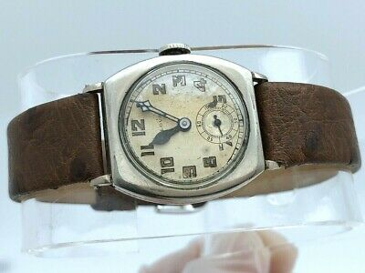 RARE EARLY BULOVA 14K WHITE ROLLED GOLD PLATE MIITARY AFTER WWI 1920's-1930's