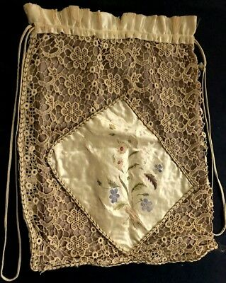 Antique Chemical Lace Crochet Hand Painted Applique Cute Bag 4 Needlework AS IS