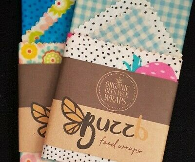 4 PACK Beeswax Food Wraps, Locally Made - Raw Organic Bees Wax, Oil, Resin Blend