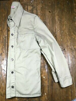 Vintage 70's Levis Khaki Western Cowboy Work Shirt USA Men's M/L No Big E Jacket