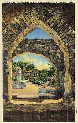 Postcard San Jose Mission Old Building Queen of Missions Rose Window Texas Linen