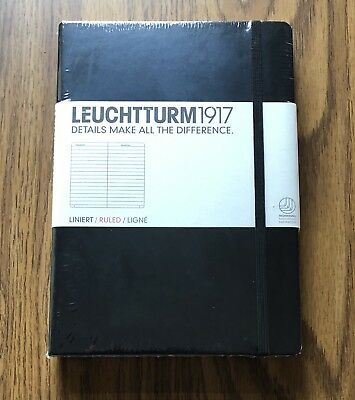 LEUCHTTURM 1917 Medium Size Hardcover Black Notebook, Dotted -NEW/FACTORY SEALED