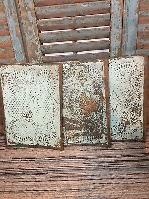 Antique Painted Punched Pie Safe Tins - Lot Of 3 - Ohio Farmhouse Estate - Aafa
