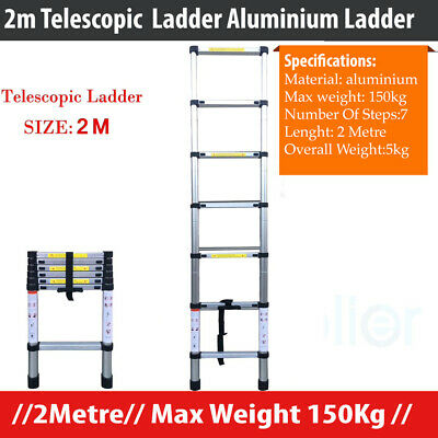 2Metre Telescopic Aluminium Ladder Extension Extendable Step, Easy to Carry