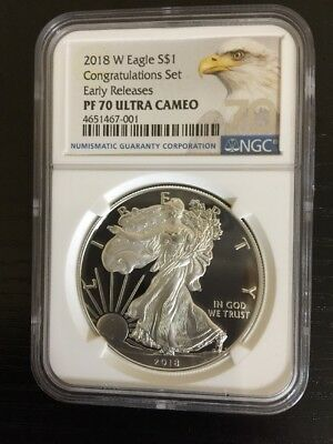 2018-W Proof $1 American Silver Eagle Congratulations Set NGC PF70UC ER