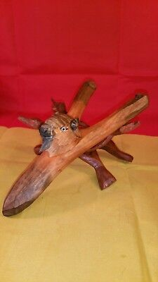 "Wooden Sling Shot Handle Folk Art Handmade Hand Carved Buffalo Head  8"" Long"