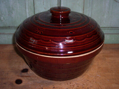 """Vintage Marcrest Brown Stoneware Pottery Covered Casserole Daisy & Dot 9-3/4"""""""
