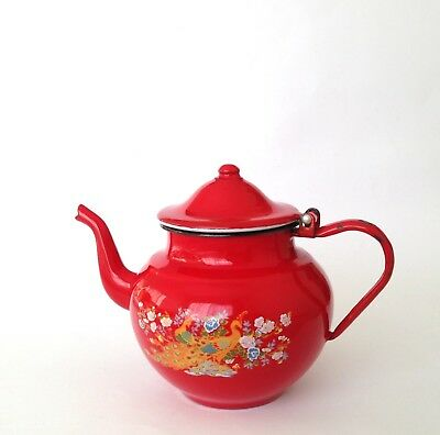 Retro vintage Red Enamel Teapot Kettle With Peacock