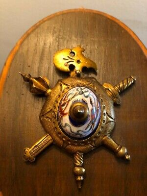 Vintage Medieval-Style Plaque Oval Wood with Metal Sword, Axe, Mace, Enamel Boss