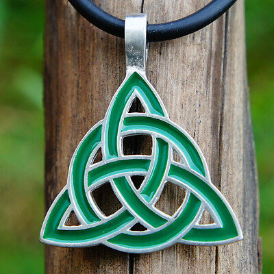 Green Celtic Trinity Knot Triquetra Pagan Wicca Charmed Pewter Pendant Necklace