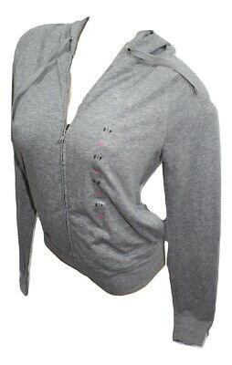 ce36a8980d1ba VICTORIA'S SECRET PINK Perfect Full Zip Hoodie Gray/Silver Bling ...