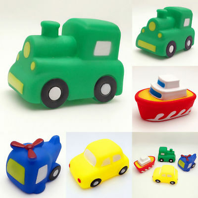Soft Rubber Float Sqeeze Sound Baby Bath Play Car Plane Boat Vehicle Plane Toy