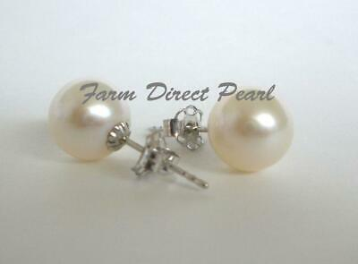 Genuine AAAA+ 7-7.5mm White Pearl Stud Earrings 14K Solid White Gold Freshwater