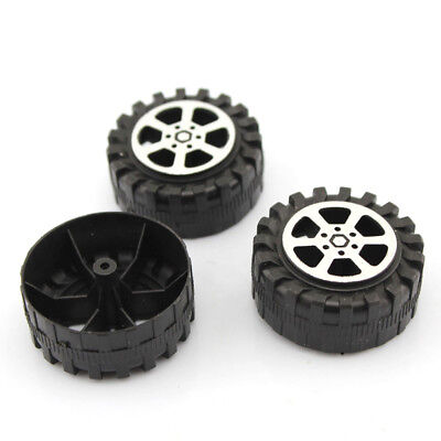 4PCS 2*42mm Plastic Wheel Black Wheel Tires in 2.0mm Aperture for Handmade DIY