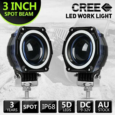Pair 3inch SPOT DRL LED Work Light Round Fog Lamp Offroad Driving 4x4 TRUCK ATV