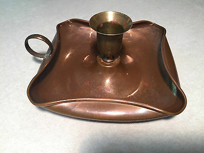 Vintage/Antique Hand-Made COPPER & BRASS Handled CHAMBER TAPER CANDLE-HOLDER