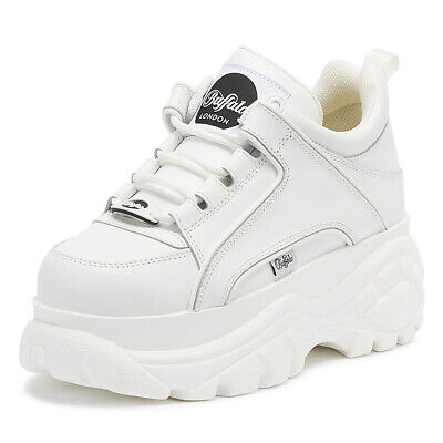 Buffalo London 1339-14 Womens White Trainers Ladies Chunky Casual Shoes