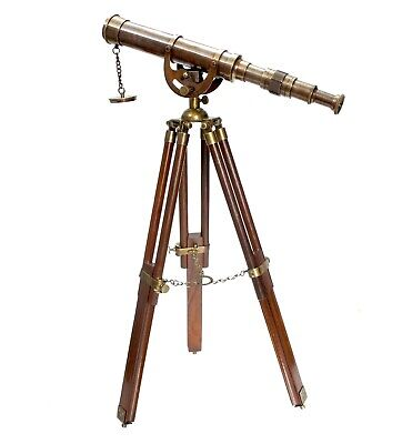 Antique Standing Tripod Brass Telescope Nautical Vintage Desktop W/Stand Anchor