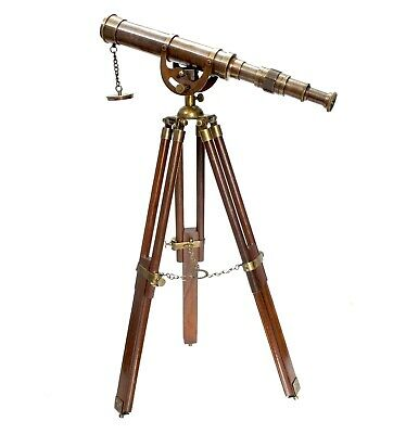 Nautical Anchor-master Antique Table Top Brass Telescope With Wood Tripod Stand