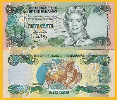 Bahamas	1/2 (half) Dollar / fifty cents p-68 2001 UNC Banknote