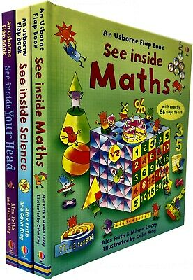 Usborne Flap Book See Inside Series 2 Your Head Maths Science 3 Books Collection