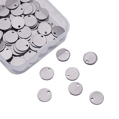 100x Stainless Steel Round Metal Tag Stamping Blank Pendant Charm Jewelry Making
