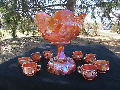 Dugan MANY FRUITS ANTIQUE CARNIVAL GLASS~COMPLETE~10 PC. PUNCH SET~MARIGOLD!