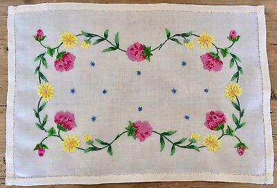 Vintage Stunning Hand Embroidered Linen Tray Cloth English Garden Flowers