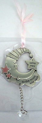"""Baby Keepsake Pink & Silver """"love You To The Moon & Back"""" Hanging Ornament Bn"""