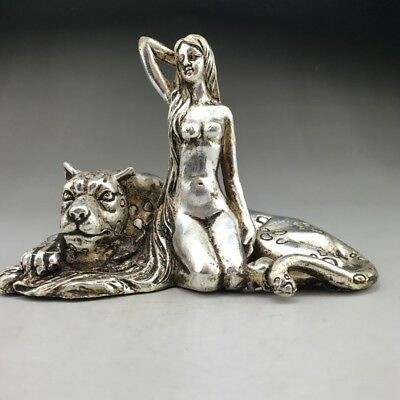 Ancient Chinese Tibetan Silver Copper Handmade Beauty Woman And Leopards Statue