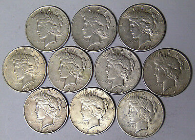 Lot of 10 Peace Silver Dollars: 1922 1922-D 1922-S 1923 1923-D 1923-S (516)