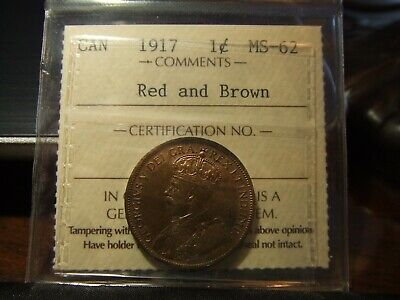 Canada Large One Cent 1917 !!! Iccs Ms-62 Red And Brown !!!