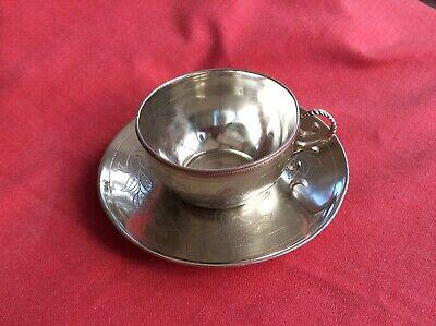 Outstanding Solid Sterling Silver Cup And Saucer, 187 Gms & Edwardian.