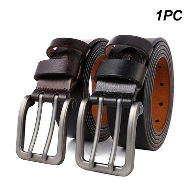 Men Lengthen Double Needle Buckle Belt Leather Casual Business Large Size Pin