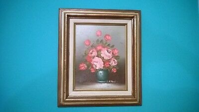 "Original Vintage Oil Painting "" ROSES IN A VASE"" Still Life 8: x 10"" Signed"