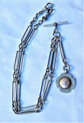 NO RESERVE HM1904 Silver Fancy Pocket Watch Double Albert Fob Chain Vintage