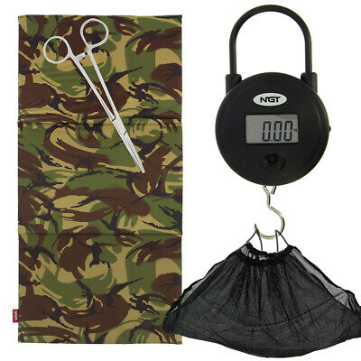 Carp Fishing Camo DPM  Unhooking Landing Mat Set Digital Scale Sling + Forceps