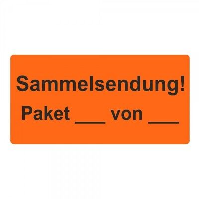"Shipping Labels/Warning Label "" Sammelsendung! Package "" 30 x 62 mm - 1000 Piece"