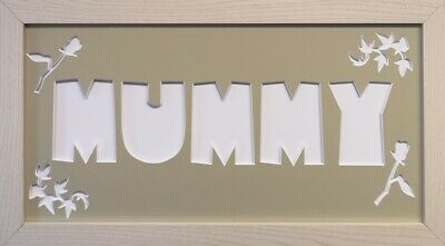 MUMMY Word Photo Mount with Frame * Mothers Day Gift * Ivy and Roses