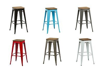4 x Metal Industrial Bar Stools Breakfast Kitchen Bistro Cafe Retro Tolix Style