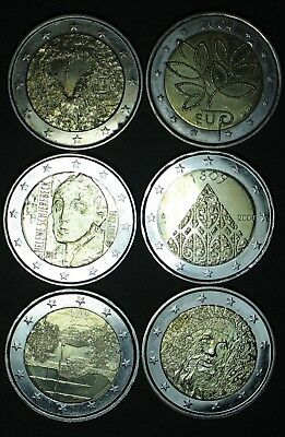 2004 2008 2009 2012 2013 2018 FINLANDE 2 euro COMMEMORATIVE  circulated