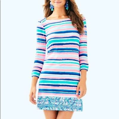 4d8283341f40a4 NWT Lilly Pulitzer UPF50+ Sophie Dress 29504 Multi Sandy Shell Stripe Eng  Size M