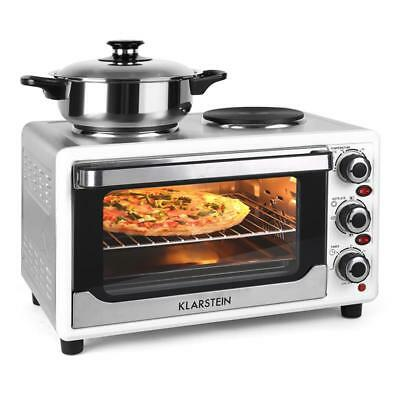 Klarstein Omnichef 23Hw Mini Convection Oven With Twin Hob 1500W Kitchen Ovens