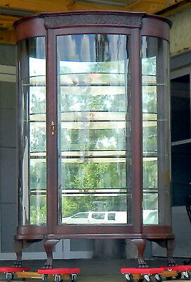Tiger Oak Bow Front China Display Cabinet~Original Mirrored Back~Glass shelves
